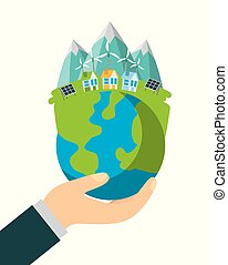 planet earth ecology and environment flat vector...