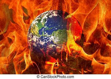 Planet Earth End Burning in an apocalyptic scenario