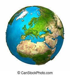 Planet Earth - Europe - colorful globe with detailed and realistic surface, 3d render