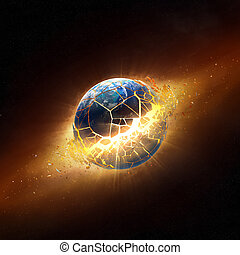 Planet earth explode in space (Elements of this 3d image furnished by NASA - texture maps from