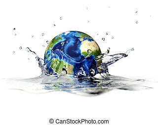 Planet Earth, falling into clear water, forming a crown...