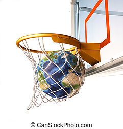 Planet earth falling into the basketball basket by a perfect...