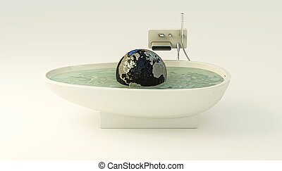 planet earth floating on the water surface of a bathtub