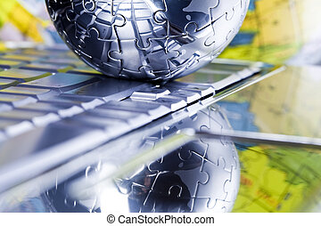 Planet earth from puzzle - Chrome planet conception.