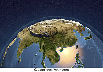 Planet Earth from space showing Asia