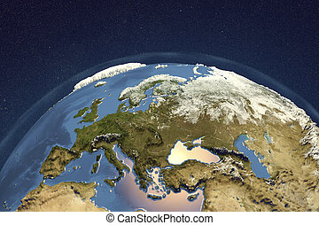 Planet Earth from space showing Europe