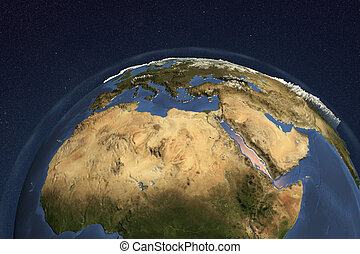 Planet Earth from space showing Nothern Africa