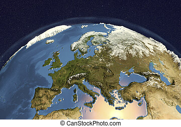 Planet Earth from space showing Western Europe