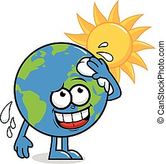 Vector illustration of a cartoon planet earth character in front of a burning sun wiping sweat and getting hot.