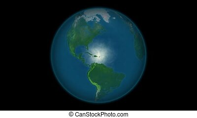 Planet earth global warming animation. Animated map of...