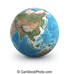 Planet Earth globe. Asia, China and Russia.