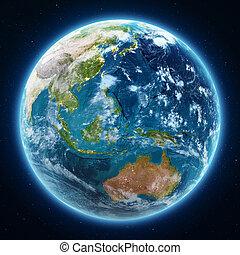 Planet Earth globe at night