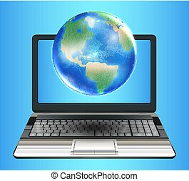planet earth globe floating on laptop computer