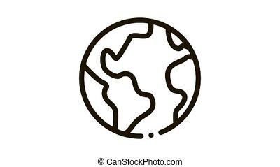 Planet Earth Globe Icon Animation