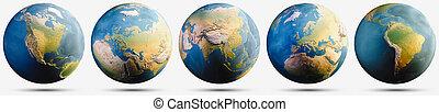 Planet Earth globe map set