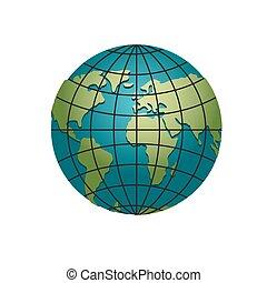 Planet earth globe. Model of sphere. Astronomical objects or celestial atlas