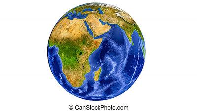 Planet earth globe turning around
