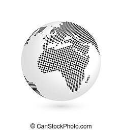 Planet Earth globe with black squared map of continents Africa and Europe. 3D vector illustration with shadow isolated on white background