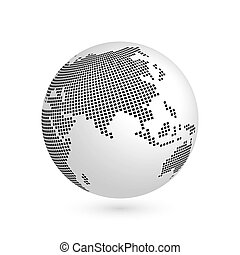Planet Earth globe with black squared map of continents Asia. 3D vector illustration with shadow isolated on white background