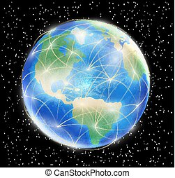 planet earth globe with network line connected