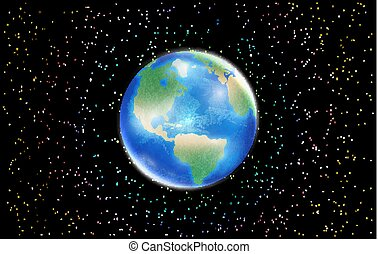 planet earth globe with space star background