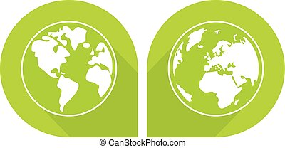 Planet Earth green vector sign