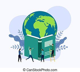 Planet earth hovers above the book, vector illustration