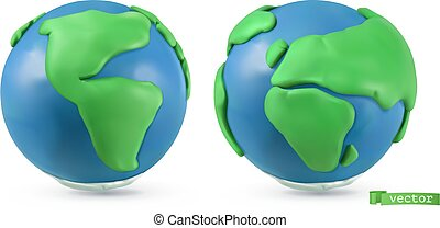 Planet Earth icon. 3d vector objects. Handmade plasticine art illustration