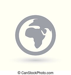 Planet earth icon. Africa symbol.