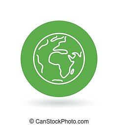 Planet earth icon. Green earth sign. Green planet symbol. Vector illustration.