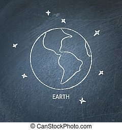 Planet Earth icon on chalkboard