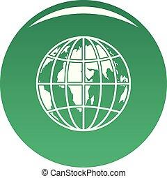 Planet earth icon vector green