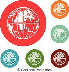 Planet earth icons circle set vector