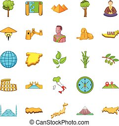 Planet Earth icons set, cartoon style