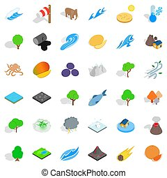 Planet earth icons set, isometric style