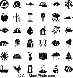 Planet earth icons set, simple style