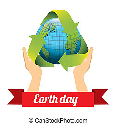 Illustration of planet earth, earth day, vector illustration