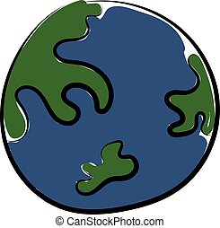 Planet earth, illustration, vector on white background