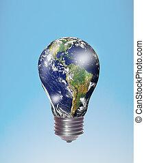planet earth in a lightbulb