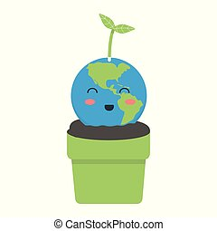 Planet earth in a pot. Vector illustration