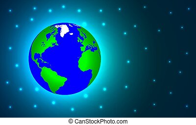Planet earth in blue green space