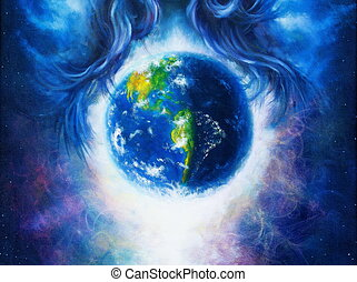 Planet earth in cosmic space surrounded by blue woman hair,...