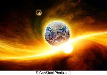 Planet Earth in danger - Abstract fantastic background -...