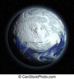 Planet Earth in Glacial Period on universe background