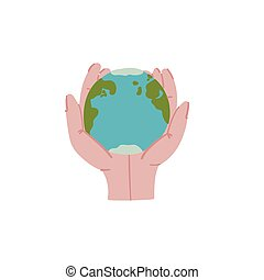 Planet Earth in hands doodle style hand drawn concept.