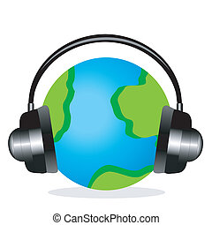 planet earth in headsets