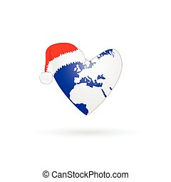 planet earth in heart with christmas hat vector