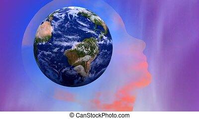Planet earth in human head silhouette