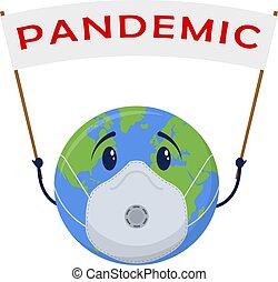 Planet Earth in medical face mask. Pandemic dangerous virus. Global world coronavirus problem. Isolated on white background. Vector.