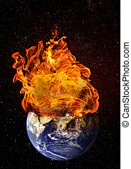 Planet earth in outer space engulfed in flames. Concept of natural disasters, global warming, apocalypse, war, judgment day. Elements of this image used with permission from NASA imagery.